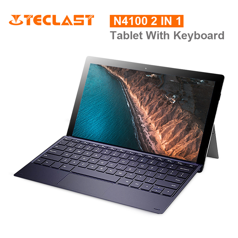 Teclast X4 2 en 1 tablette ordinateur portable 11.6 pouces Windows 10 Celeron N4100 Quad Core 1.10GHz 8GB RAM 128GB SSD 5.0MP HDMI avec clavier