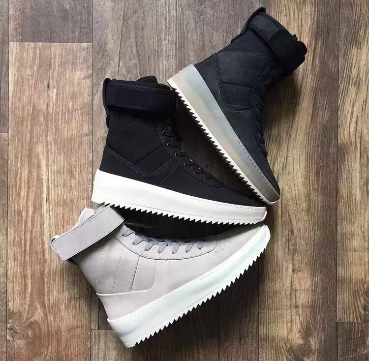 2017 Handmade All-matching High Street Famous brand Mens Fear of God Military High Boots Leather Men Shoe Justin Bieber