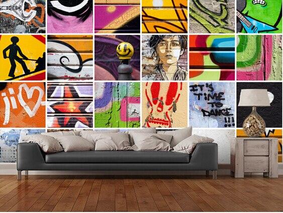 Retro Art Woonkamer : Custom retro behang vierkante street art d behang voor
