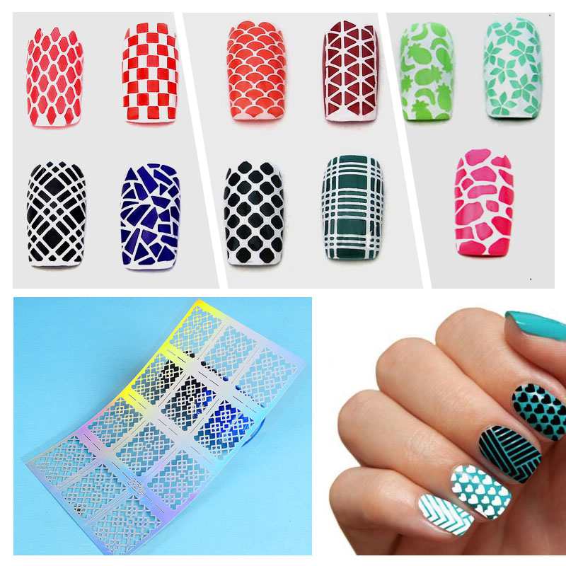 12 Tips/Sheet Laser Nails Vinyls Nail Art Manicure Stencil Nail Art Hollow Stickers Decoration Tools Accessories 24 styles french manicure diy 3d nail art tips guides stickers stencil strip nail hollow stickers nail art