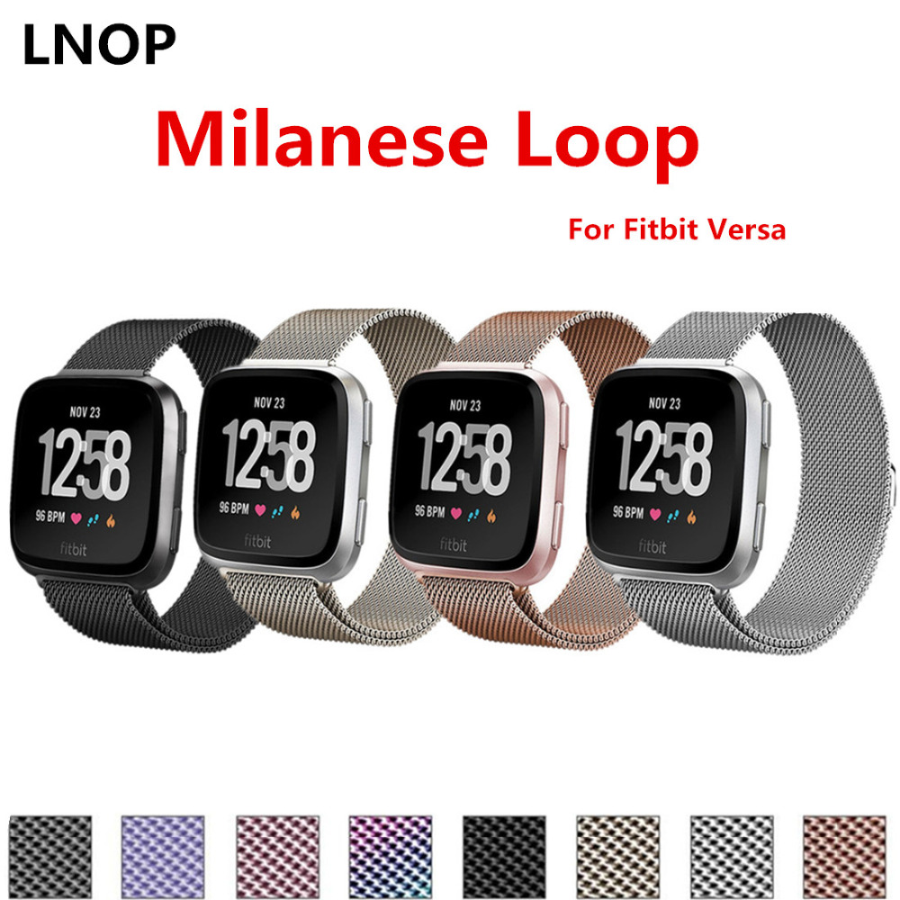 LNOP Milanese Loop for Fitbit Versa Strap Band Stainless Steel Replacement Bracelet wrist Strap for Fitbit Versa smartwatch