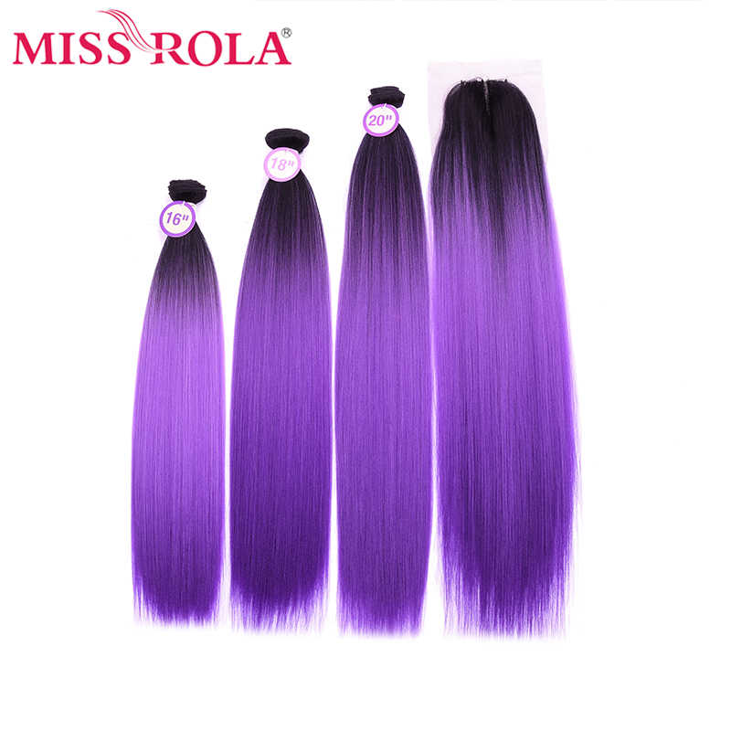 Miss Rola Yaki Straight Hair Bundles With Closure Kanekalon Synthetic Hair Extensions With Closure 16-20 Inches Ombre Color Hair