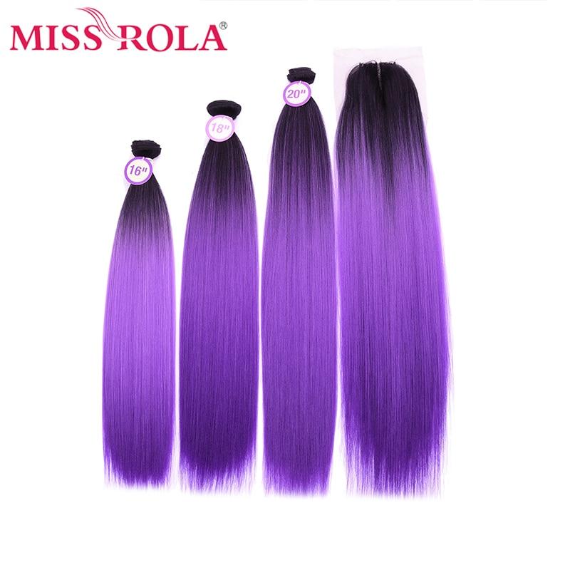 Прямые пряди волос Miss Rola Yaki с закрытием, синтетические волосы для наращивания Kanekalon с закрытием, 16-20 дюймов, волосы Омбре