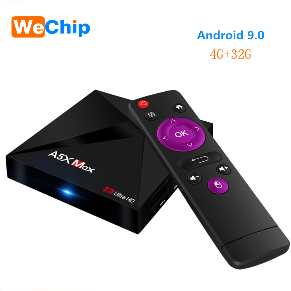 Wechip A5X MAX 4G+32G Smart Android 9.0 TV Box RK3328 Quad-Core Support 4K DH 3.0 USB 2.4G  Wifi Bluetooth 4.1 Set Top Box Wechip A5X MAX 4G+32G Smart Android 9.0 TV Box RK3328 Quad-Core Support 4K DH 3.0 USB 2.4G  Wifi Bluetooth 4.1 Set Top Box