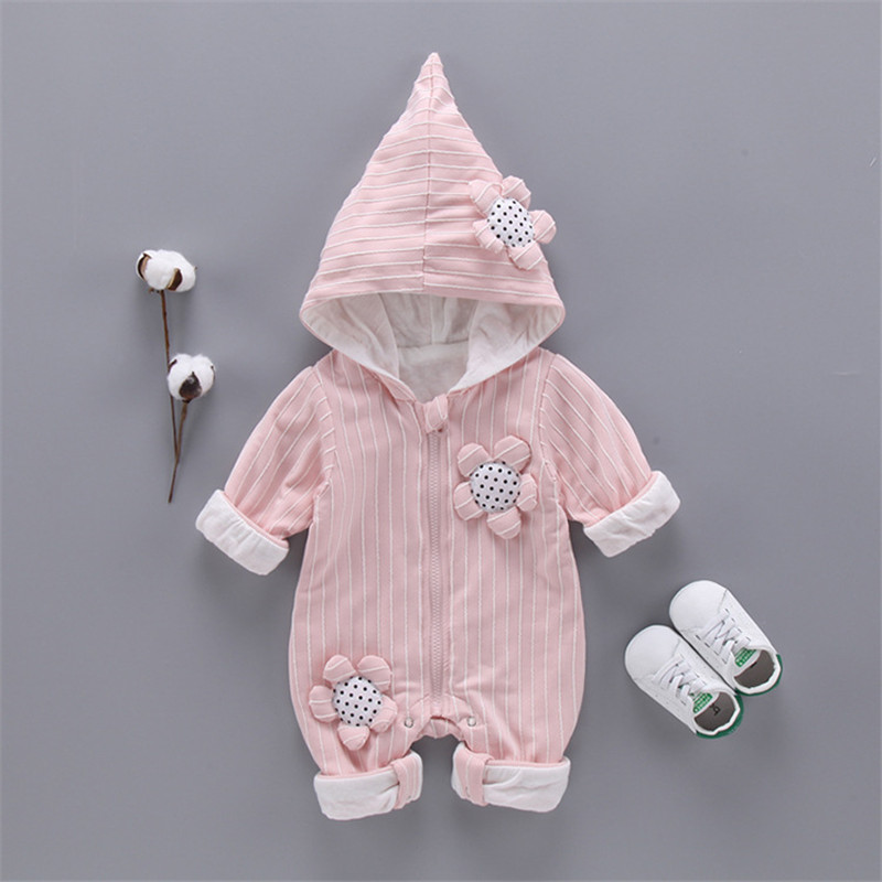 Baby Romper Cartoon Flowers Baby Clothes Cute stripes Cotton Jumpsuit Newborn Hooded Overall Baby Girl boys clothes kid gift