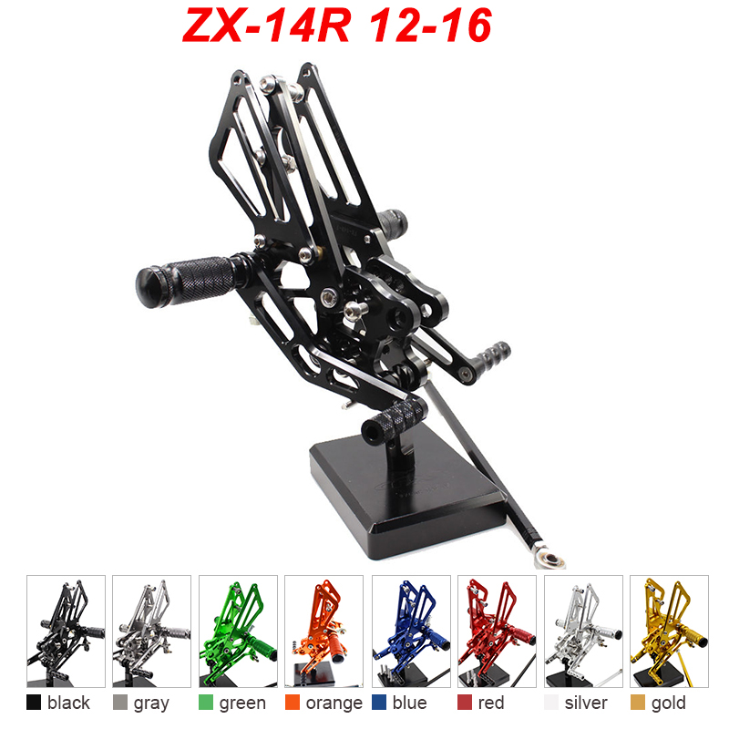 For 12-16 Kawasaki Ninja ZX14R ZZR1400 ZX 14R CNC Aluminum Adjustable Rear Set Foot Pegs Pedal Footrest Rearset 2012 2013-2016 cnc aluminum motorcycle steering damper stabilizer mount kit bracket support for kawasaki zx14r zzr1400 zx 14r 2006 2012 2007