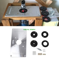 2018 New Aluminum Router Table Insert Plate W 4 Rings Screws For Woodworking Benches Drop Shipping