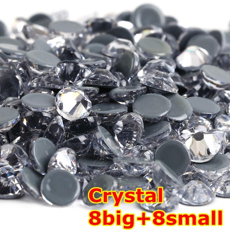 1440 pcs/lot, AAA Qualité Nouveau Facted (8 grand + 8 petit) ss20 (4.8-5.0mm) Cristal De Fer Sur Hotfix Strass
