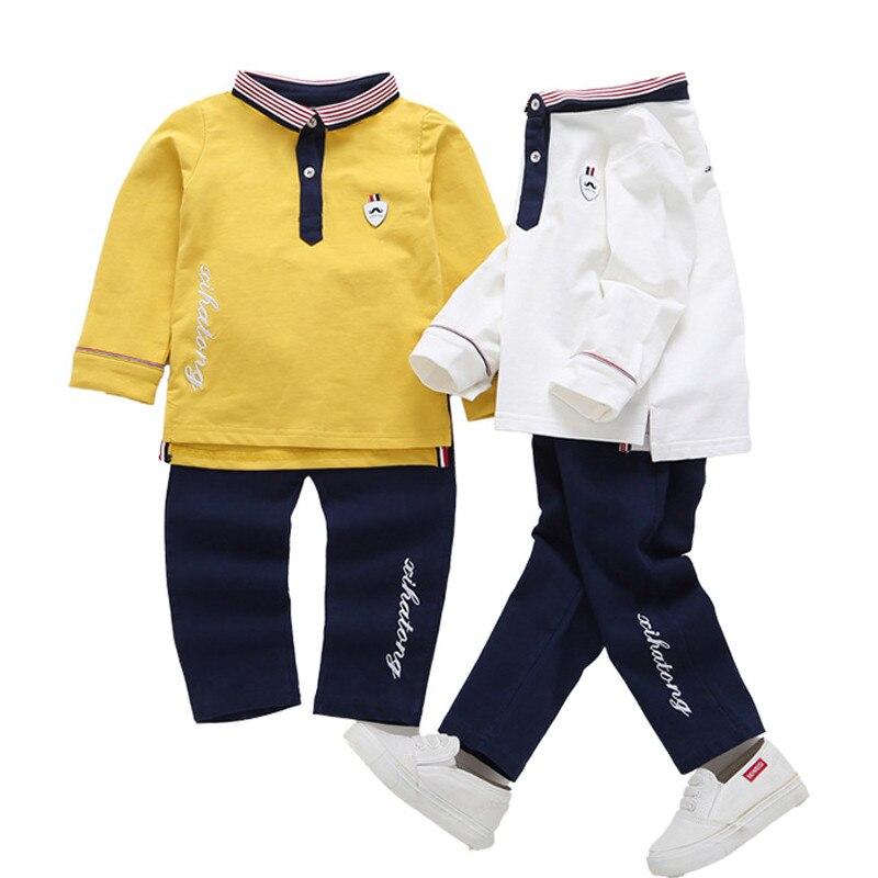 Boys Clothing Sets 2017 Autumn Long Sleeve Lapel Stripe Letter Cotton T-shirt+pants Suits for Baby Boys Children Clothing Sets letter graphic stripe long sleeve t shirt