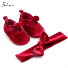 2019 Brand Newborn Baby Girl Soft Gold Velvet Shoes with Hairband Infant Bowknot Solid Slip-On Crib Shoes 0-18M 0-18M cheap Cotton Fabric All seasons Butterfly-knot Fits true to size take your normal size pudcoco