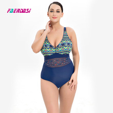 Faerdasi Women New Retro Vintage Swimwear Floral Print Bathing Suit Plus Size Beachwear Patchwork One Piece Swimsuit Bodysuit