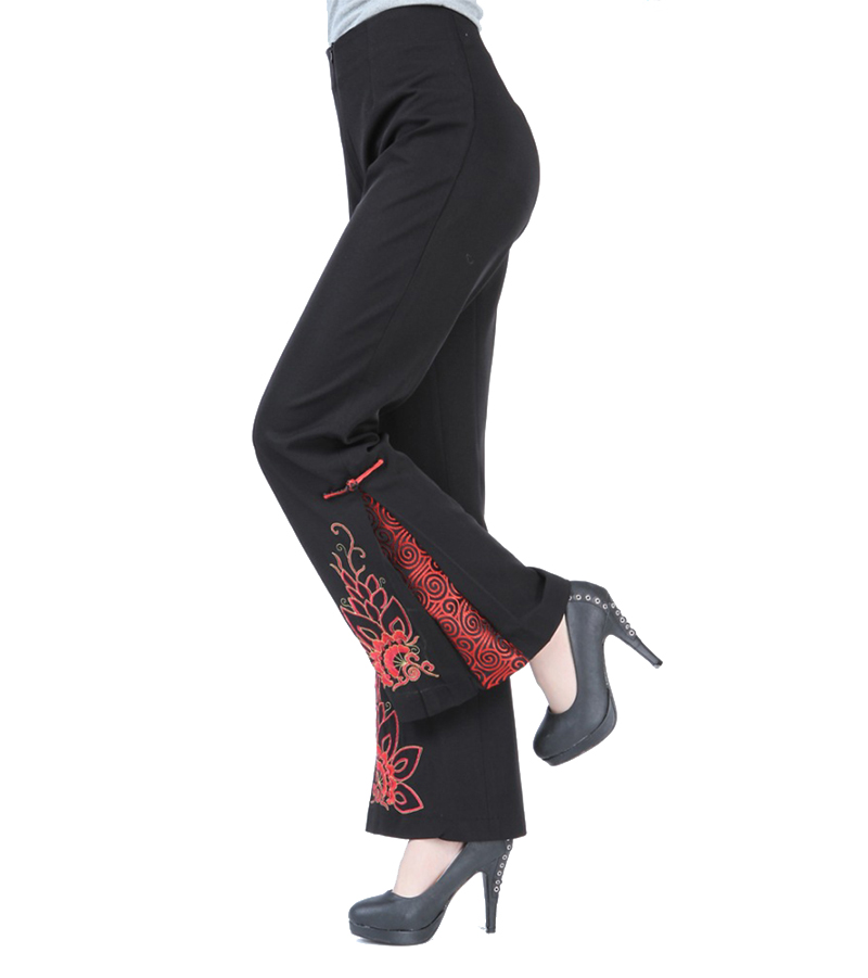 Spring Autumn Black Chinese Women Flare Pant Traditional Embroidery Trousers Flower Plus Size S M L XL XXL XXXL 4XL 2991 1