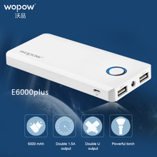 WOPOW E6000plus 6000mAh power bank Mobile phone Quick Charge Powerbank Dual USBOutput External Battery Pack With LED Flashlight