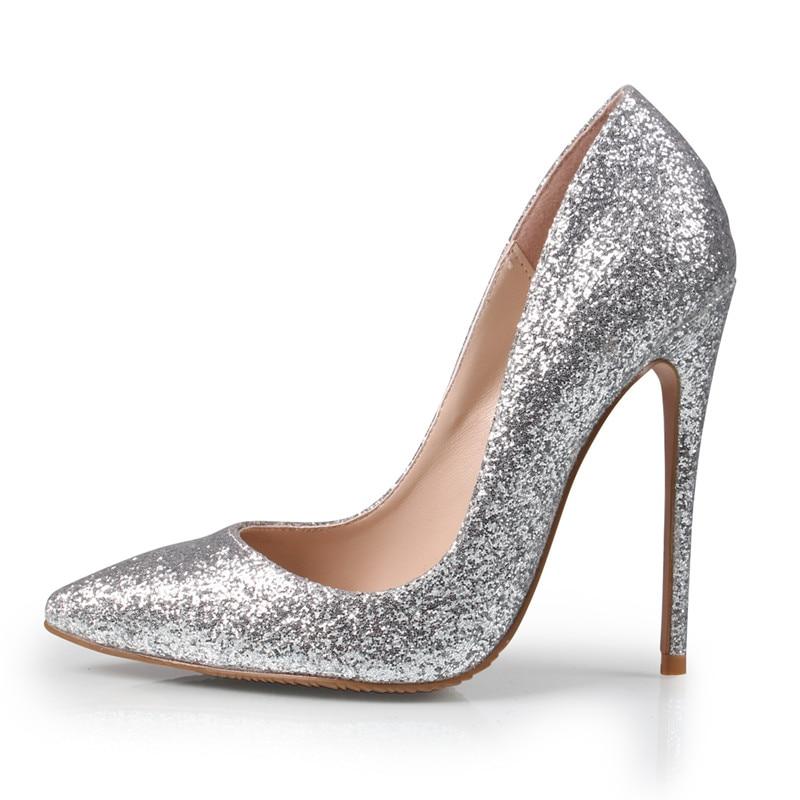 B 12cm Mujer Gold Zapatos Lady Tacones Mujeres Heel gold 10cm Alto Glitter Heel Marca Bombas 8cm Sexy Tacón Wedding 1115 Silver Heel silver 11 Altos Cm ZzU7qv