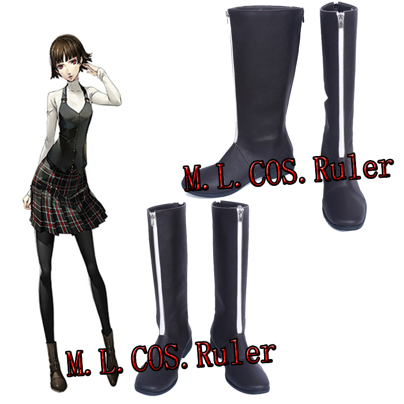 Persona 5 Niijima Makoto Queen  P5 Cosplay Boots Custom Made Shoes Black Shoes Unisex Anime Niijima Makoto Boots Free Shipping