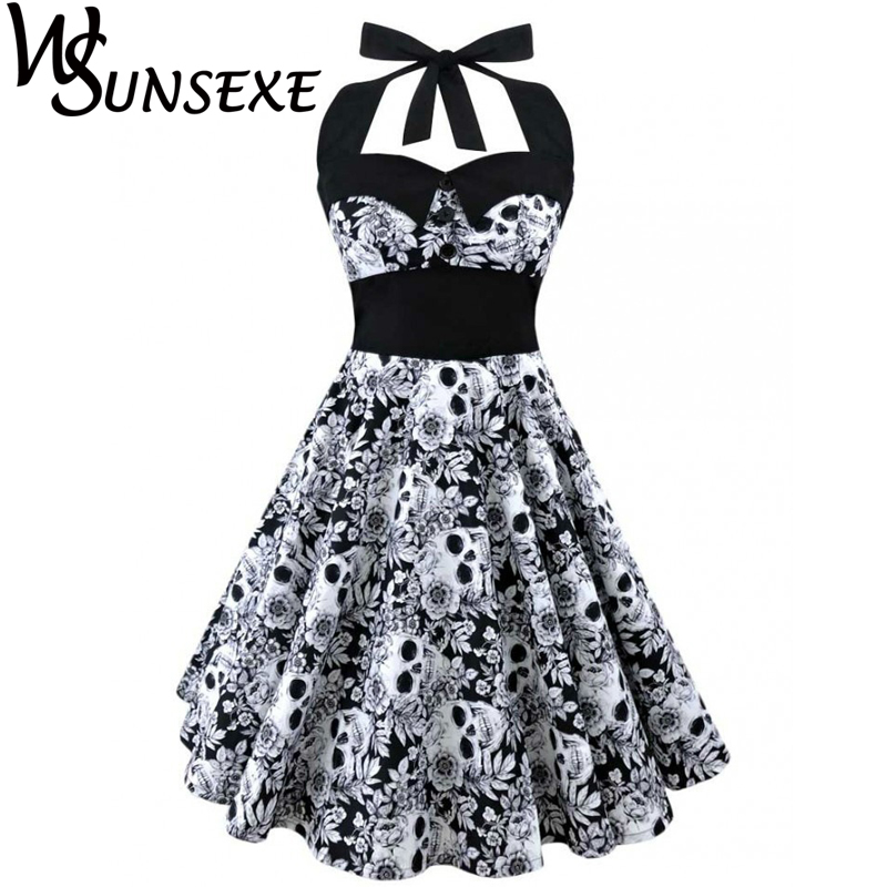 Wsunsexe Retro Vintage Style Sleeveless 3D Skull Floral Printed 2017 Summer Women Dress Halter Plus Size Party Sexy Casual Dress