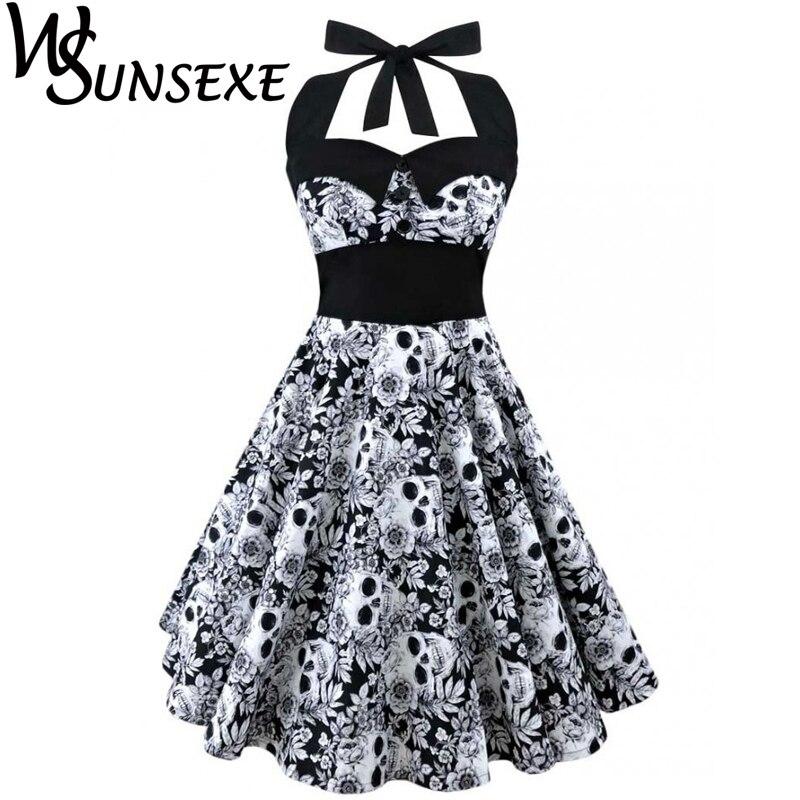 Wsunsexe Retro Vintage Style Sleeveless 3D Schädel Floral Bedruckte 2017 Sommer Frauen Kleid Halfter Plus Größe Party Sexy Casual Dress