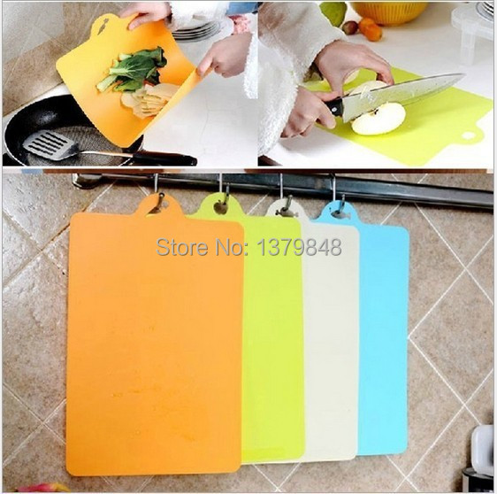 4 PCS/LOT kitchen flexible antibiotic resistant soft chopping block cutting board hang plastic chopping board