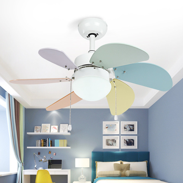 Nordic Children Room Ceiling Fan Light Bedroom Fan Modern Simple Restaurant  Living Room Coffee Shop Color