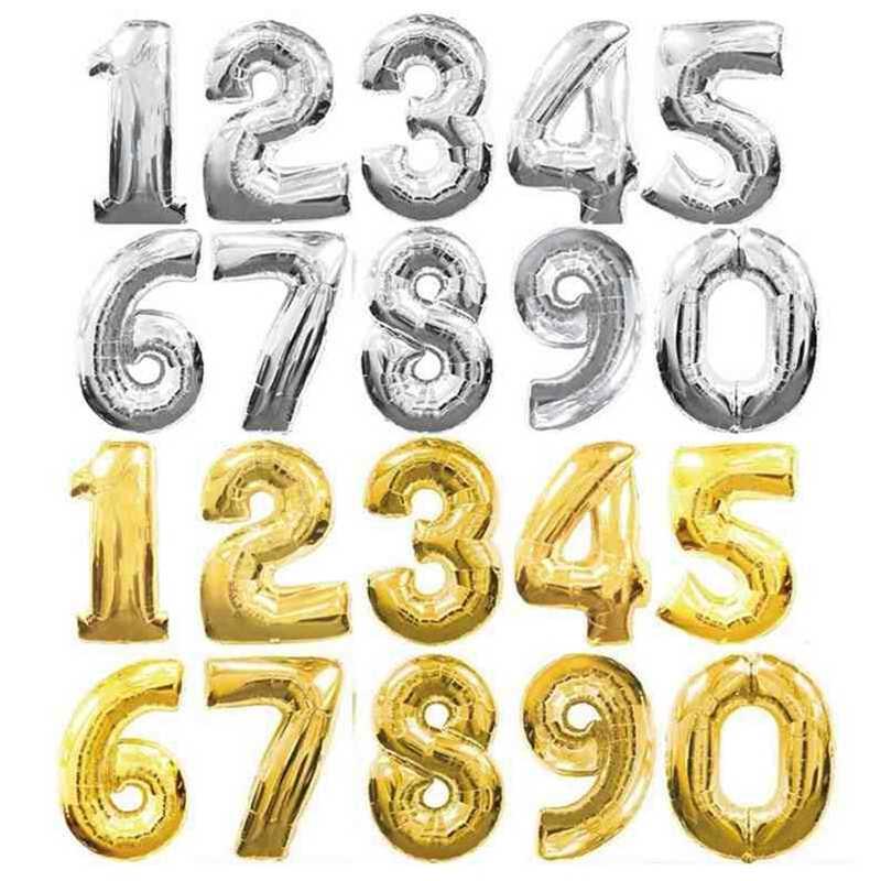 16/32 pulgadas figura número de dígitos globos de papel de aluminio cumpleaños fiesta de boda Estrella de oro y plata rosa azul globo inflable de helio Gas