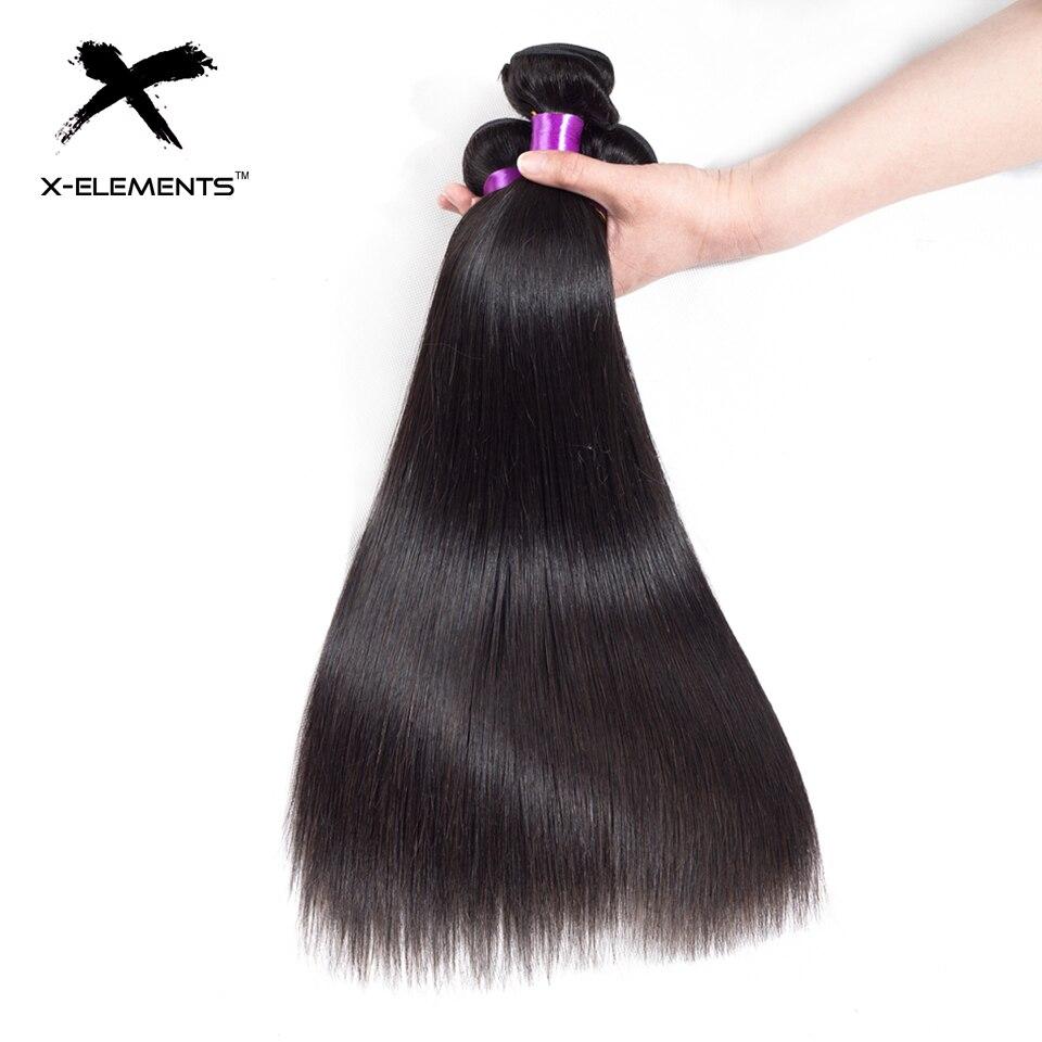 X-Elements Peruvian Straight Hair Weave Bundles Natural Color 100% Human Hair Weave Extensions Non Remy Hair 1 3 4 Bundle Deals (5)
