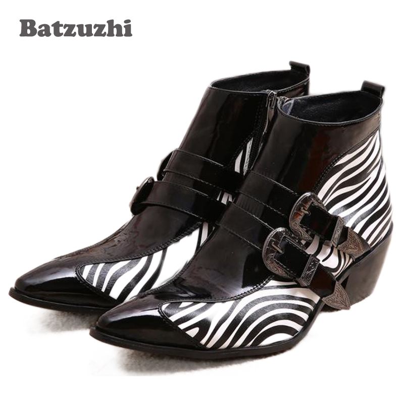 Japanese Type Men Boots Pointed Toe Buckle Mens Dress Boots Leather Zebra Strip Height 6.5cm Inceased Men High Heels 6.5cmJapanese Type Men Boots Pointed Toe Buckle Mens Dress Boots Leather Zebra Strip Height 6.5cm Inceased Men High Heels 6.5cm