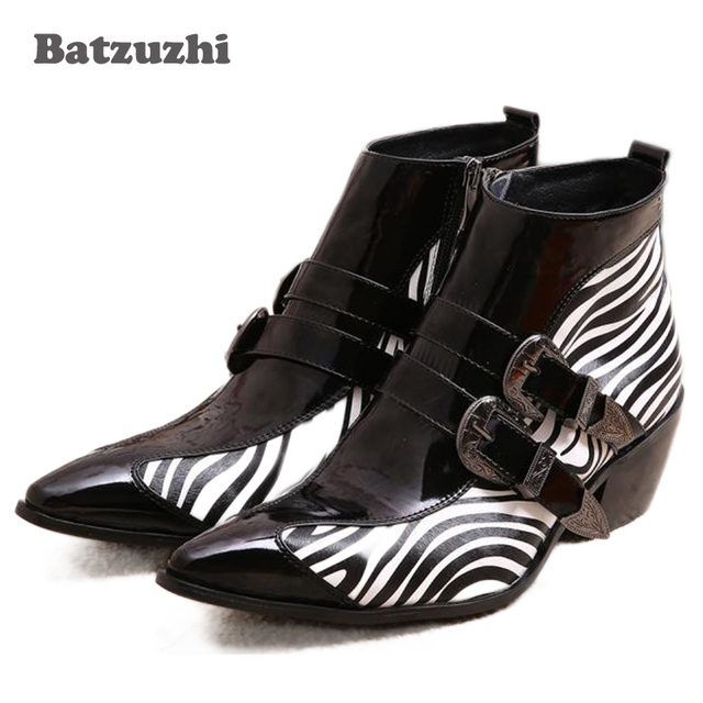 888a043d58e Japanese Type Men Boots Pointed Toe Buckle Men s Dress Boots Leather Zebra  Strip Height 6.5cm Inceased Men High Heels 6.5cm