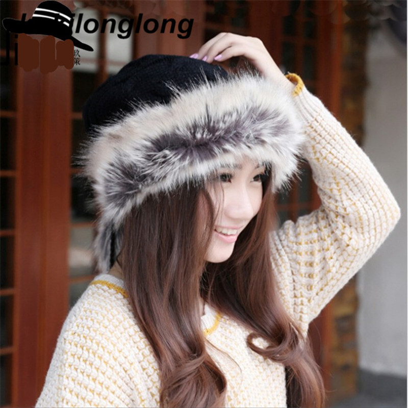 kukilonglong winter warm caps for women knitted beanies cap brand new thick female cap fox fur ball Double layer  hats for girls new beautiful colorful ball warm winter beanies women caps casual sweet knitted hats for women outdoor travel free shipping