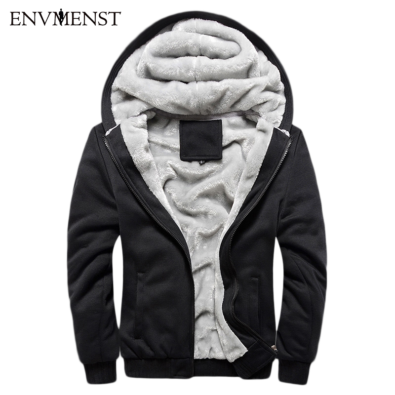 Solid Color 2017 New Winter Plus Velvet Men Hoodies Sweatshirts Hooded Jacket Thicken Warm Casual Mens