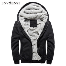 Einfarbig 2017 Neue Winter Plus Samt Männer Hoodies Sweatshirts Kapuzenjacke Verdicken Warm Beiläufiger Mens Cardigan Big Size 5XL
