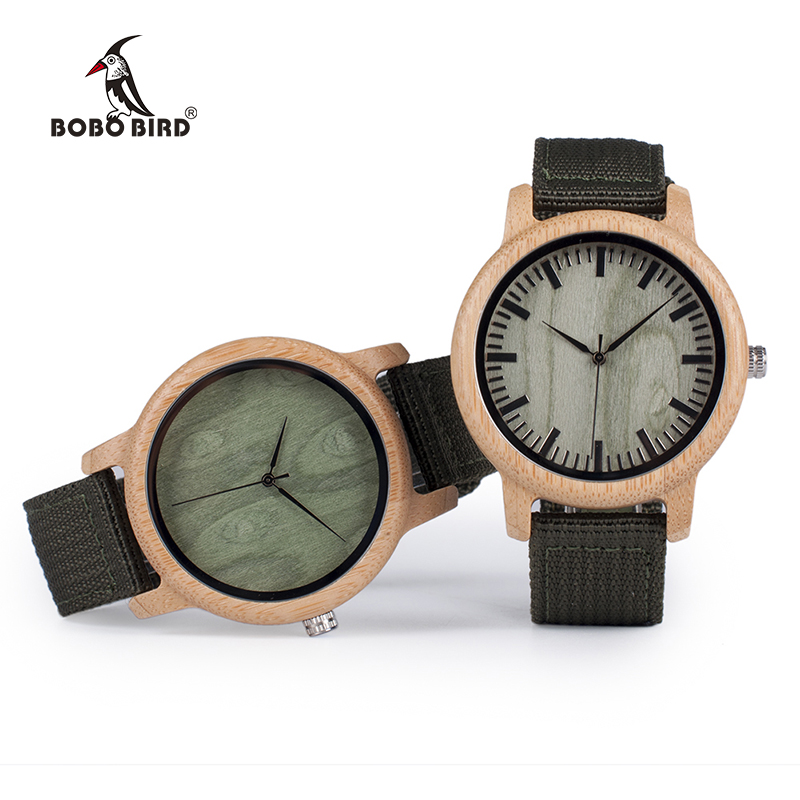 BOBO BIRD D11 Bamboo Wood Watches for Women Men Brand Design Green Nylon Straps Watch Drop Shipping in Box bobo bird brand new wood sunglasses with wood box polarized for men and women beech wooden sun glasses cool oculos 2017