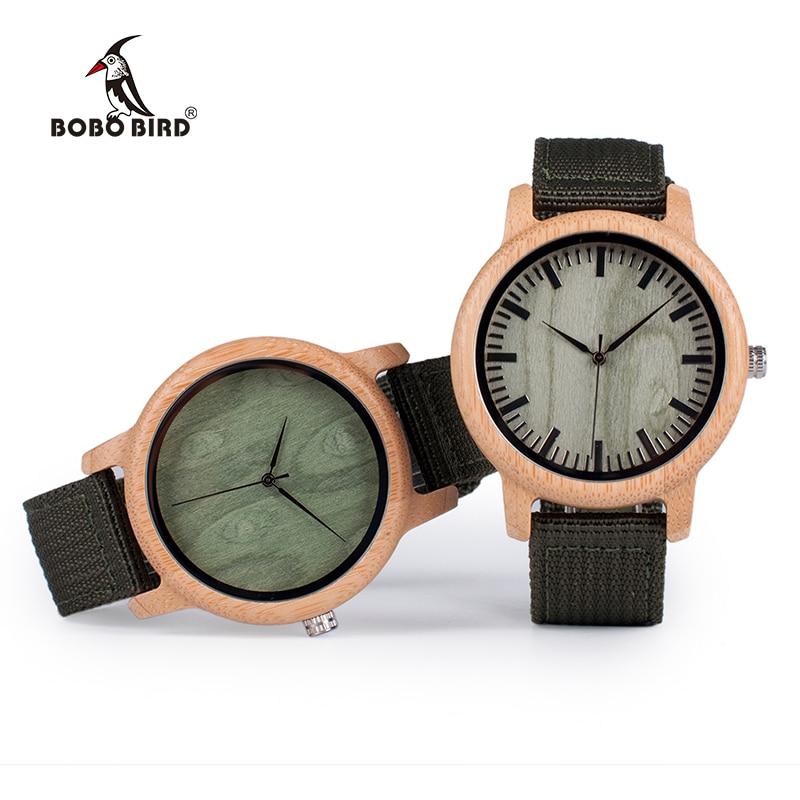 BOBO BIRD D11 Bamboo Wood Watches for Women Men Brand Design Green Nylon Straps Watch Drop Shipping in Box