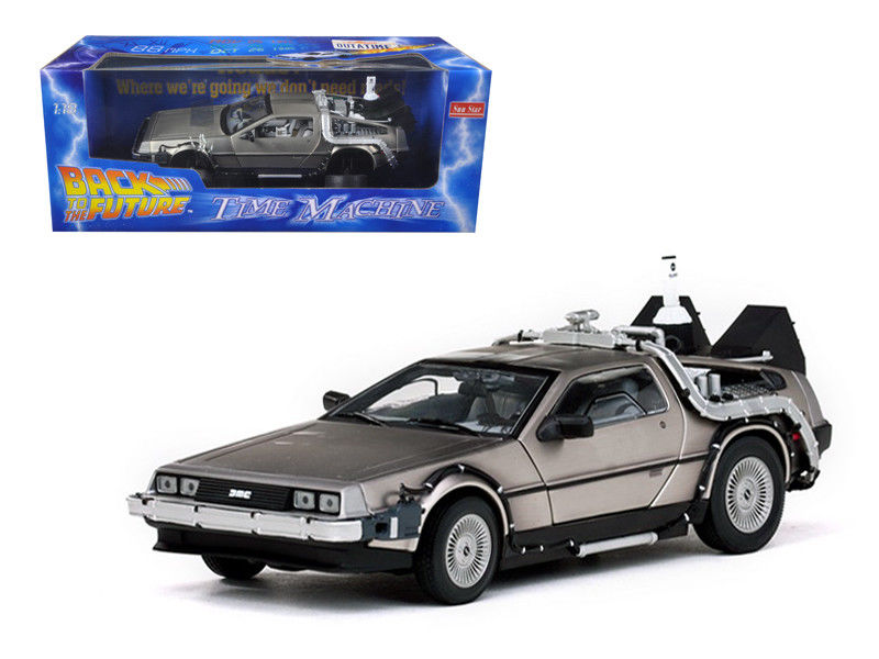 1:18 Miniature: pour Delorean Time Machine De Retour À L'avenir II Film MDMC-12 Scifi Alliage Jouet Voiture Miniature Collection