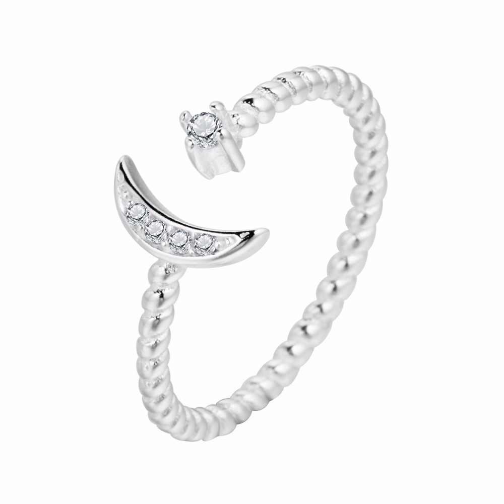 QIAMNI 925 Серебро CZ витой Циркон полумесяц кольцо со звездами рождественские ювелирные изделия в стиле минимализма для женщин девушке Подвески подарок