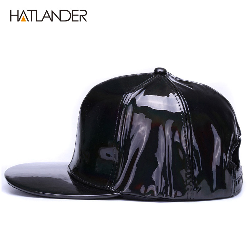 Shining PU flat brim baseball hats for boys girls solid snapbacks  6843a615005b