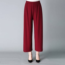 Fold Pleated Palazzo Pants Women Bottoms 2019 Female Casual High Waist Wide Leg For Summer Clothing