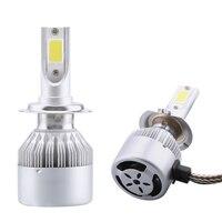 2PCS H4 H7 H11 H1 9005 Cob Led Car Headlight Bulb Kit 80W 8000LM Super Bright