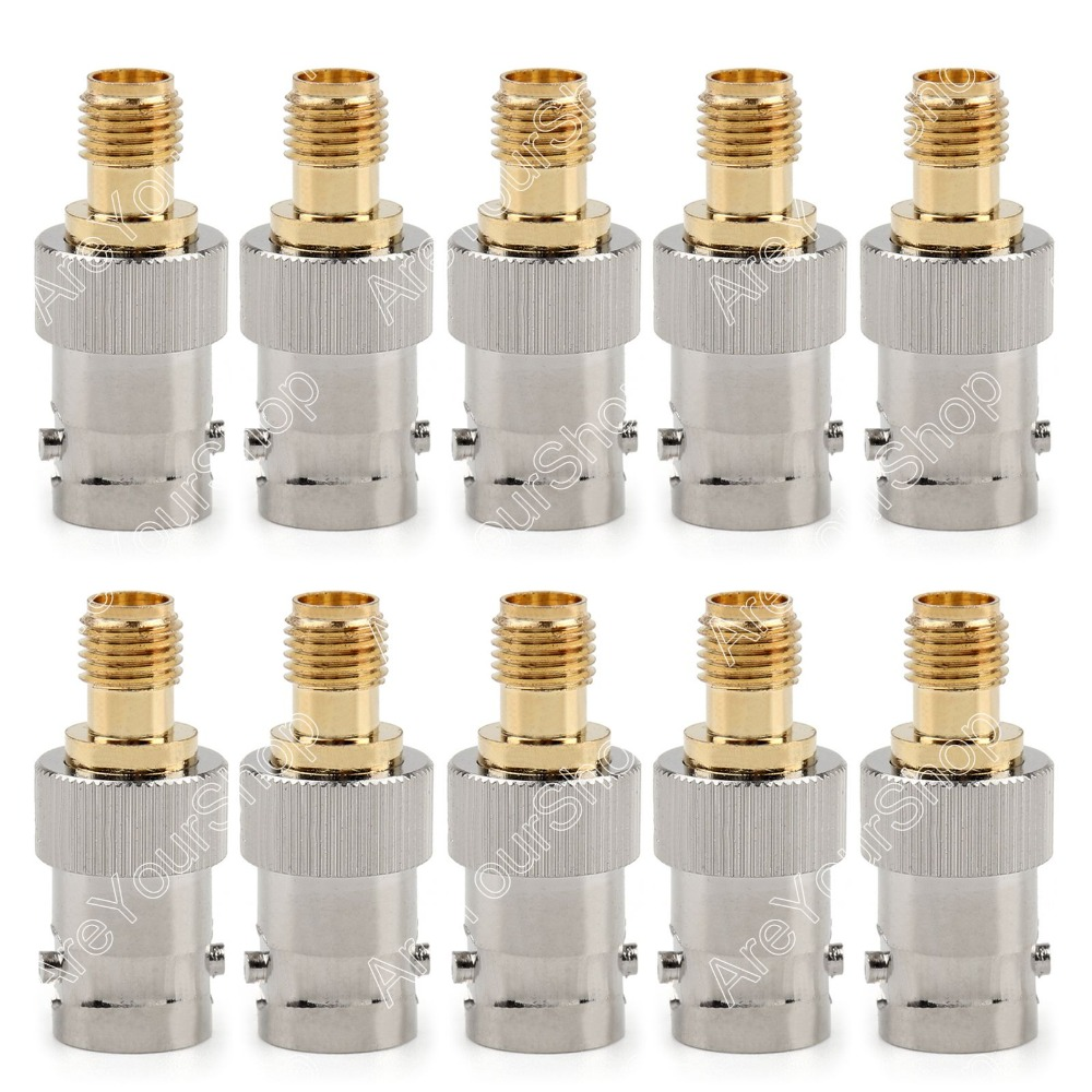 Areyourshop Sale 10Pc Adapter BNC Female Jack To SMA Female RF Connector Straight F/F PTFE areyourshop sale 10 pcs adapter rp sma jack male to 2 rp sma plug female t rf connector triple 1m2f wire connector ptfe