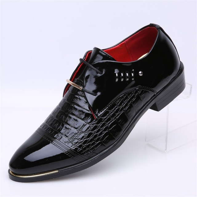 Classic Men Dress Shoes PU Black Brown  Wingtip Italian Formal Oxfords Shoes Size 38-46