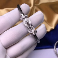 ZOZIRI 925 Sterling Silver lucky 8 Bracelet voyage viking women cz zircon wire cable buckle bangle men france jewelry