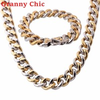 Granny Chic Charming JEWELRY SET 13/15mm Mens Chain Boys Necklace Curb Cuban Silver Gold Stainless Steel Necklace Bracelet Set