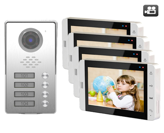 SMTVDP TFT LCD Color 7Video Door Phone Doorbell SD Card Slot Intercom Home Security Video System HD Camera For 4-Apartments