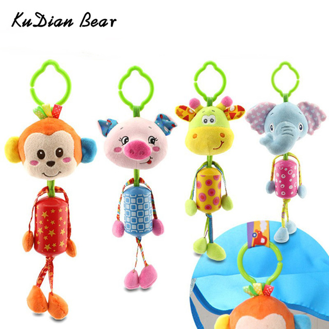 KUDIAN BEAR Cute Animals Soft Rattles Hang Baby Kids Dolls Educational Rattles Mobile Baby Toys 0-12 Months  BYC064 PT49