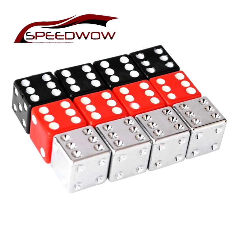 SPEEDWOW 4pcs Tire Air Valve Stem Caps Dice Tire Tyre Valve Caps Wheel Caps Dust Stems Dust Cover For Car Motorcycle Tire Caps