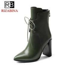 RizaBina Women Winter Boots Genuine Leather Shoes Woman Half Short Boots Warm Fur Shoes Lace Up