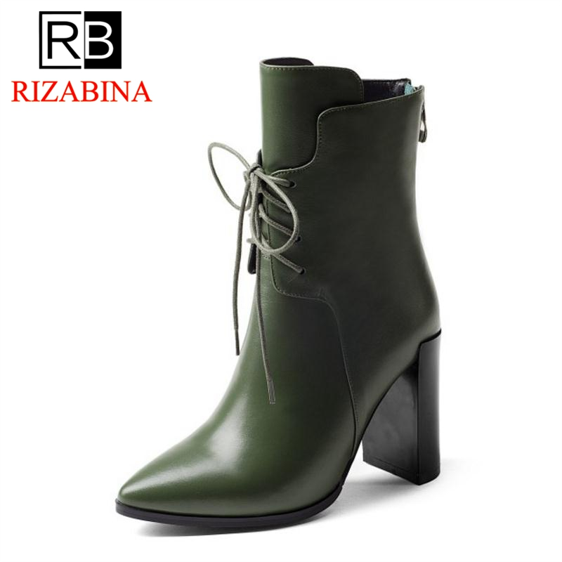 RizaBina font b Women b font Winter Boots Genuine Leather Shoes Woman Half Short Boots Warm