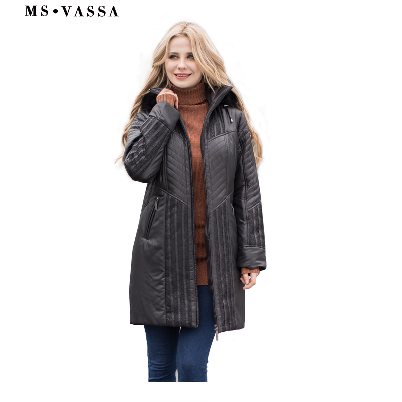 MS VASSA Women Trench coats Autumn Winter Ladies Fashion coat detachable hood with fake fur plus