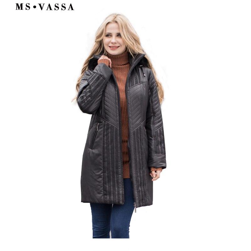 MS VASSA Femmes Tranchée manteaux Automne Hiver Dames De Mode manteau capuche amovible avec faux fourrure plus la taille 4XL 6XL dentelle décoration