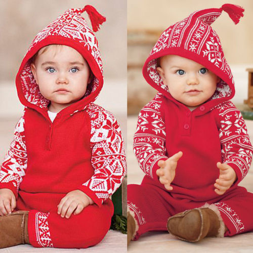 2018 Newborn Baby Kids Girl Boy Christmas Elements Long Sleeve Hooded Romper Jumpsuit Casual Outfits Cotton Clothes