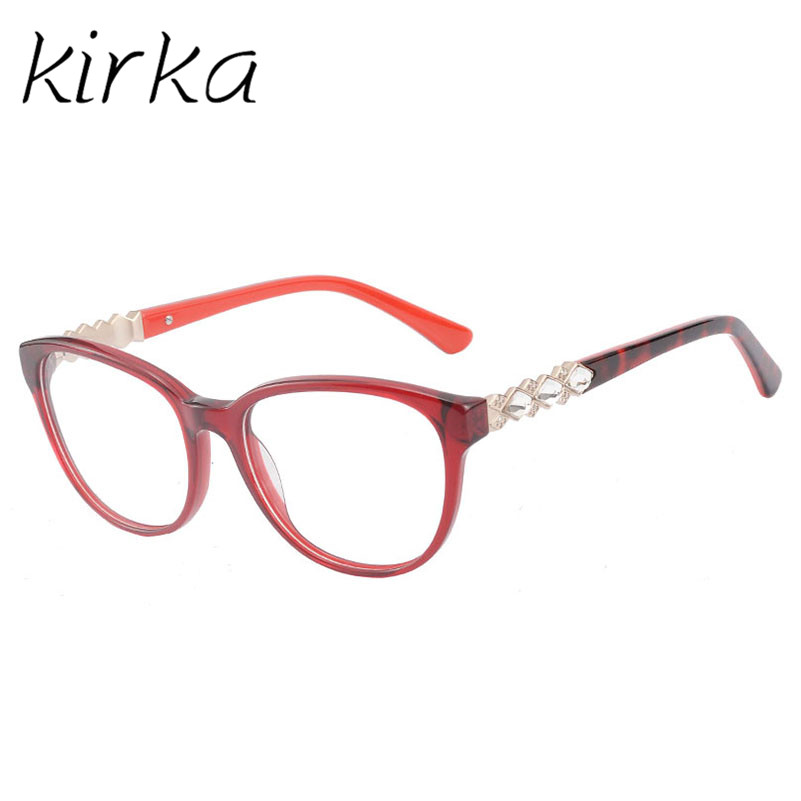kirka red color with crystal round glasses frame women fashion glasses eyeglasses frame women computer glasses